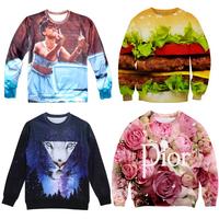 2015 Fashion popular Women/men printed tiger leopard pullovers 3d hoodies sweatshirts rose sexy Hamburg sweaters tops