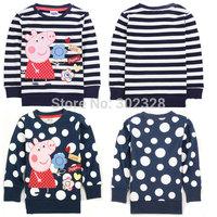 2014 New Arrival Peppa Pig girls clothing Kids polka dot sweatshirt Stripe pullover cotton baby long sleeve t shirt for girl