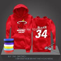 New Ray Allen #34 Basketball 3-shooter Super Star Heat Hoodies Clothing Cotton Sweatshirt  Men HoodiesTraining Long-sleeved Tops