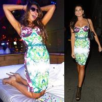 Free Shipping Big Sale Sexy Spaghetti Straps Floral Print HL Bandage Dress 2014 New