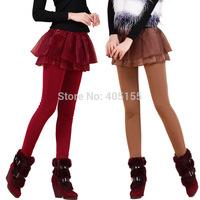 New Style Wholesale 2014 Winter Warm Skirt Leggings For Women Plus Velvet Thickening Leggings Large Size M L XL 2PCS 5% off