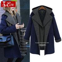 European style Winter Coat Women Long Style Loose Casual Wool Winter Jacket Turn Down Collar Warmth Outdoor Coat