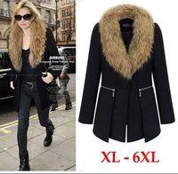 2014 winter new Oversized plus size women Wool Coat Fur Collars zipper girls parkas coat Outerwear XL 2XL 3XL 4XL 5XL 6XL black
