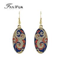 Boucle D'oreille Bohemian Earrings brincos longos Blue Enamel Vintage Carved Flower Dangle Earrings For Women