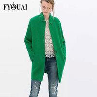 FYOUAI Wool Coat For Women New Fashion 2014 Winter Jacket Women Casual Loose One Botton Trench Coat