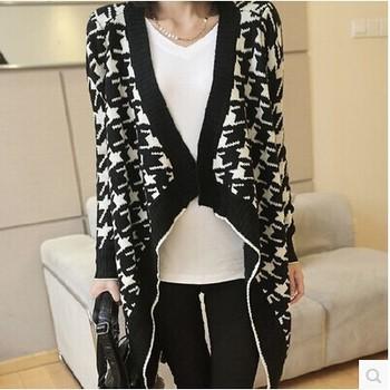 2014 зима новый женщин большой ярдов нерегулярные хаундстут Большой размер вязаный свитер вязать кардиган пальто прямая поставка оптовая продажа