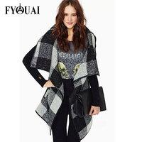 FYOUAI Arrivals Autumn Winter Coat 2014 Plaid jacket Women Fashion Splice Wool Trench Coat With Belt High Quality Winter Jacket