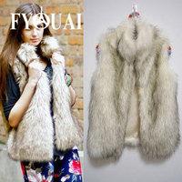 FYOUAI Fur Vest Winter Coat  Women Warmth and Thicken Fashion Big Fur Collar Winter Jacket Women Slim Outdoor Faux Fur Vest