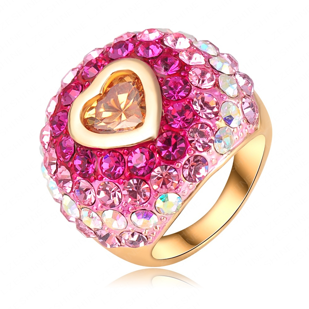 Romantic Christmas Gift Colorful SWA Element Austrian Crystal Love Ring 18K Gold Plated Heart Ring Women