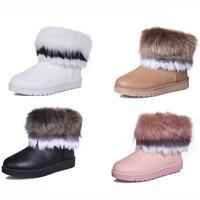 2014 New Women Snow Boots Australia Style Leather Long Fur As Fox Fur Waterproof Keep warm winter Shoes motorcycle