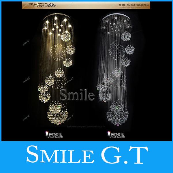 Free shipping new modern 11PCS lustre crystal ball design chandelier large lustres de cristal lights D80*H300cm guarantee 100%(China (Mainland))
