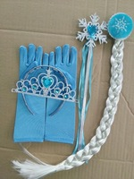 Christmas Party Cosplay Tools  Blue Gloves Crown Wands Wig 4pcs/Set 3 Styles Crowns Wands Designs 10sets/Lot