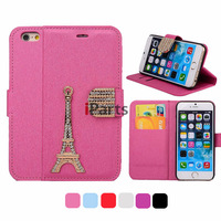 For iPhone 6 4.7 Luxury 3D Paris Eiffel Tower Diamond Magnetic Flip Leather Cover Stand Wallet Case for iPhone 6