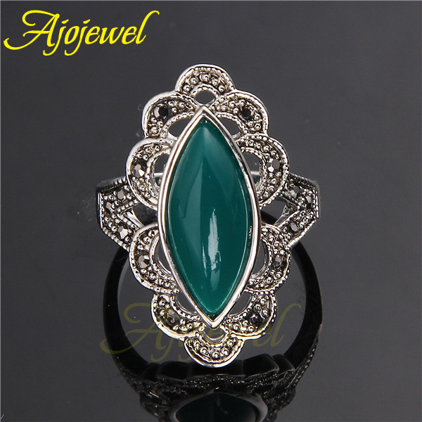 Elegant 18K White Gold Plated Retro Vintage Black /Green Stone Ring For Women(China (Mainland))