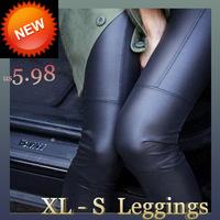 Warm Leggings Freeshipping  Rayon Top 2014 New Women In Europe And America Slim Leather Pants Stitching Elastic Leggings