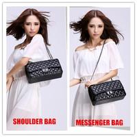 W=32CM Classic Quality Plaid Elegant Nobility Duoble Flaps Women Leather handbag Genuine Leather Sheepskin Women Messenger bag