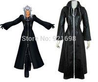 Kingdom hearts 2 Organization XIII 3 Saix Axel Roxas Black Leather Cosplay costume Hallowmas Gift