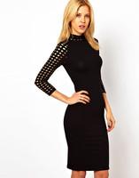 New 2014 Bodycon Dress Plus Size 2XL Hole Three Quarter Sleeve Turtleneck Women Pencil Dresses Black Back One Button Vestidos