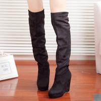 Fashion Women High Heels Faux Suede New Black Women Pumps Platform Over Knee Boots Fashion Sexy Ladies Shoes XZ6062