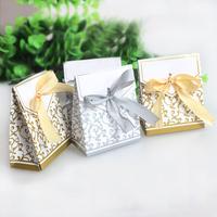 2014 New Fashion 100pcs Gold Gray Ribbon Wedding Favor Box Party Candy Box Favor Gift Boxes Wedding Candy Box