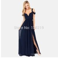 2014 New Fashion Women's Greek style Long Section Elegant Chiffon Folds Deep V-neck Luxury Sexy Maxi Dress LQ4886