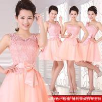 HOT women wedding dress incarnadine pink 4 style 2014 new fashion slim short women Bridesmaid dress women party dress S-XXL