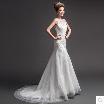 Vestido де Noiva леди вышивка совок спинки длиной до пола поезд русалка кружева свадебное платье 2015 свадебное платье Casamento