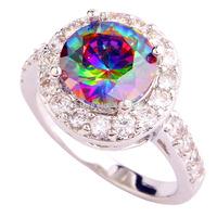 Wholesale AAA Jewelry Round Cut Mysterious Rainbow Topaz & White Topaz 925  Silver Ring Size 6 7 8 9  PRECIOUS JEWELRY
