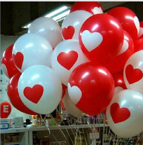 send random 10pcs/Lot 12inch 3.2g/Pc Latex Helium Ball Ballon Wedding Party Birthday Heart Pattern Mixed Color Balloon Q99(China (Mainland))
