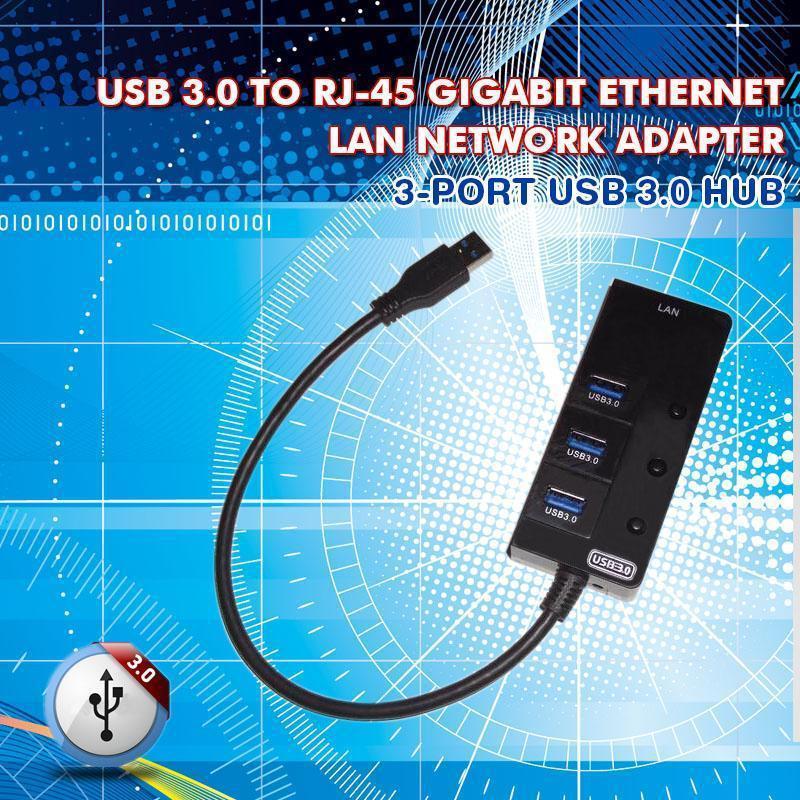 3 Port USB 3.0 Hub w/ 1 RJ45 Gigabit Ethernet Lan Wired Adapter Converter Card 10/100/1000M 1000Mbps USB 3.0 to lan RJ-45(China (Mainland))