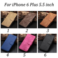 100pcs/lot Free Shipping Retro 2 Card Slots Leather Folio Case with Stand For iPhone 6 Plus 5.5 inch