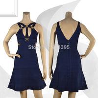 2014 New arrival ladies party fashion Woman blue cut out A-Line v neck backless Bandage Dress evening dress HL wholesale