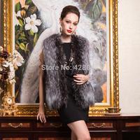2014 autumn and winter overcoat ladies fashion fox fur coat faux fur vest waistcoat plus size women coat jacket Free Shipping