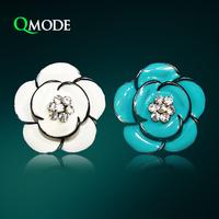 QMODE Europe Big Daisy Stud Earrings 2 colors Oil Sunflowers Crystal Earring Stud Elegant Brand Design