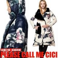 Fashion Brand CLJ New Designer  Mirror Flowers Loose Casual Velvet Patchwork Hooded Female Down Coat S-XXL-sz- W1660