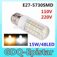 3pcs New Arrival 48LEDs SMD 5730 15W E27 LED Corn Bulb AC 110V 220V 240V Ultra Bright  LED lamp Spot light Chandelier lighting