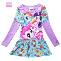 Childrens Shirt Dress Girls Autumn Dresses Kdis Dress My Little Pony Fashion Full Sleeve Cotton 2014 Autumn Fit3-10Yrs Child 813