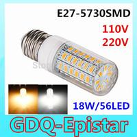 2pcs E27-18W-56LEDS-5730SMD High Bright  Wall LED lamps 110V 220V High Quality Corn LED Bulb Ceiling light