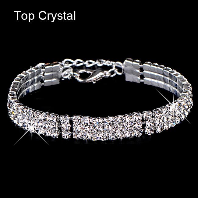 New hot sell gold / silver plated Austrian crystal brand jewelry Multi-chain rhinestone bracelet women wedding Jewellry 2014 M16(China (Mainland))