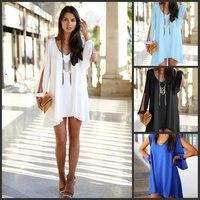 plus size slit sleeve V-neck loose irregular chiffon dresses women summer dress 2014 new fashion casual dress vestidos