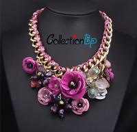 CollectionBP New Fashion Golden Chain Rhinestone Crystal Purple Flower Bib Statement Necklace