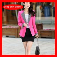 2014 New Arrival European Single Button Elegant Slim Plus Size Suit Blazer Jacket 2 Colors 811