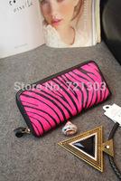 New winter women handbags fashion zebra leopard genuine leather match horsehair fur wallet bag lady long design wallet clutch