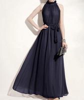 Maxi Dress Women Dresses Vestidos Fashion Style Stand Collar Ruffled Flounce Edge Self-Tie Sleeveless Chiffon Dress For Women