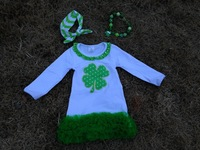 baby girls shamrock dress st patrick girls cotton dress  with matching chunky necklace and bow set