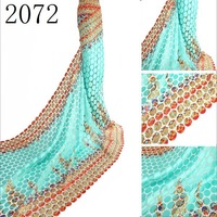 hot selling emboridery african chemical lace, multi-color guipure lace fabrics in embroidery fabrics