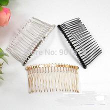 1PC 3.6cm*7.5cm 20Teeth Black /Gold /Rhodium Metal Hair Combs Wedding Bride Clips Headpiece Hair Sticks Accessories F1573