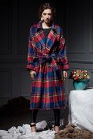 Free Shipping New Arrival 2014 Autumn Winter Plus Size X-Long Plaid Belt Women Wool Coat W0001