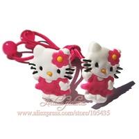 2014 New Arrival ,1pairs Hello Kitty  Cartoon Logo Cute Baby Girls Kids Hair Band/Hair Clips/Hair Accessories,Kid Christmas Gift