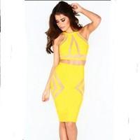 2014 Women saia saias Yellow Bandage Two-piece Skirt Set summer and autumn women's skirts american apparel pencil skirt  028221